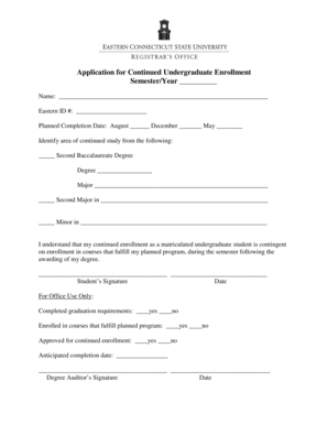 Fillable Online Application for Continued Undergraduate