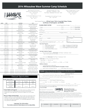 Fillable Online 2014 Milwaukee Wave Summer Camp Schedule