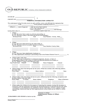 Fillable what is a personal information affidavit