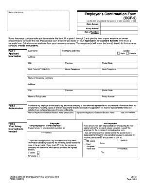Fillable Online fsco gov on Employers Confirmation Form