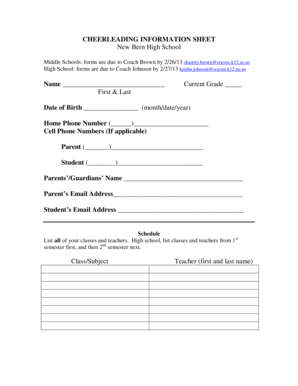 Fillable Online CHEERLEADING INFORMATION SHEET New Bern