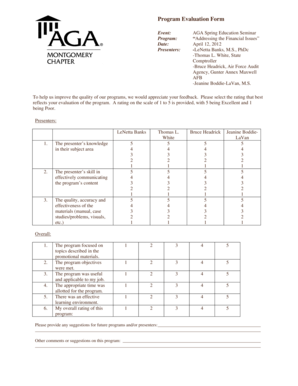 16 Printable program evaluation template education Forms
