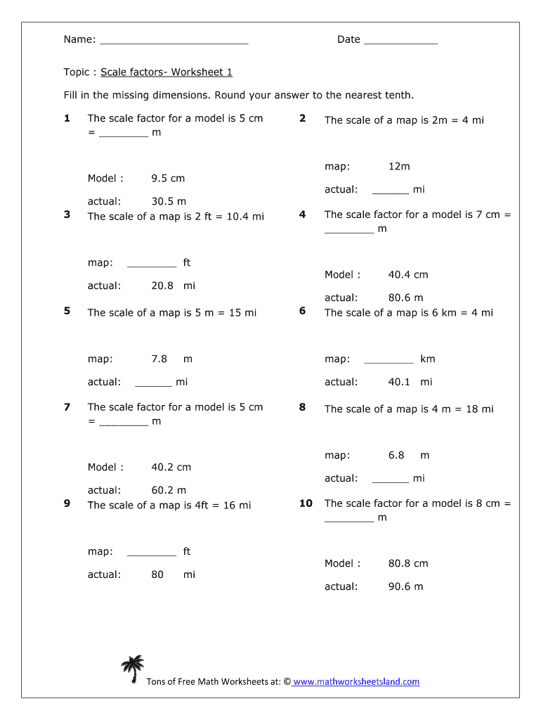 hight resolution of Scale Factor Worksheet With Answers Pdf - Fill Online