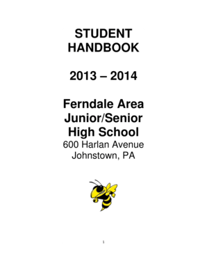 Fillable Online fasdk12 STUDENT HANDBOOK 2013 2014