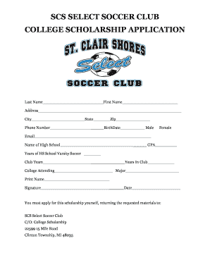 Fillable Online Scs select soccer club college scholarship