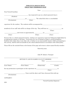 20 Printable field trip permission letter Forms and