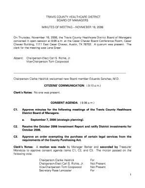 Fillable Online CITIZENS COMMUNICATION CONSENT AGENDA Fax