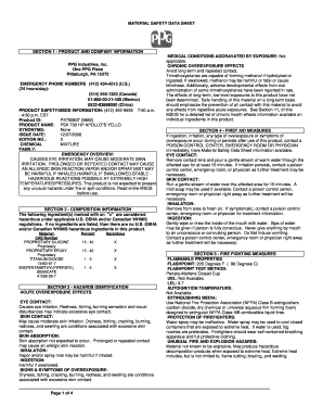 Fillable Online MATERIAL SAFETY DATA SHEET SECTION 1