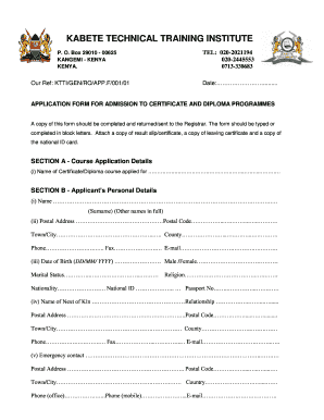 Kabete Technical Training Institute Application Form Pdf