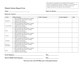 Fillable Online hollandhall Planned Absence Request Form