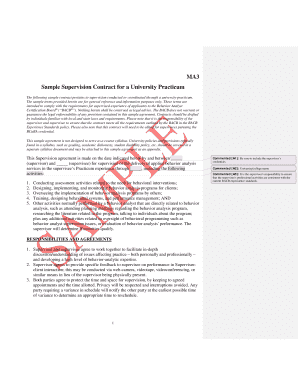 Sample Supervision Contract for a University Practicum