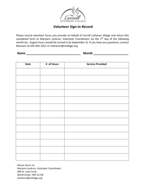 Fillable Online clvillage Individual Hours Sheet