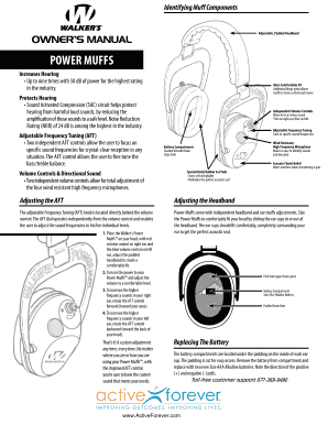 Fillable Online Walkers Game Ear Power Muffs User Manual