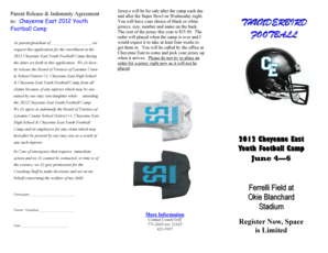 Fillable Online 2012 Cheyenne East Youth Football Camp