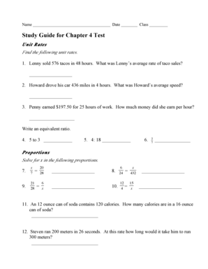 Fillable Online Study Guide Chapter 4 Test