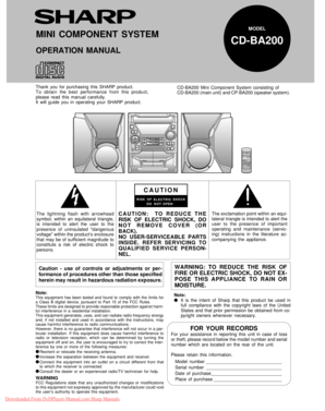 Fillable Online Sharp CD-BA200 User Guide Manual Sharp CD