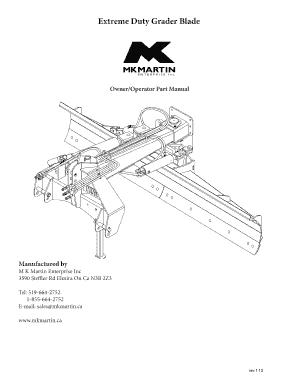 Fillable Online mkmartin Extreme Duty Grader Blade