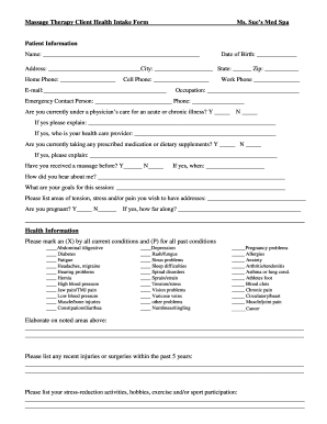 22 Printable client intake form massage therapy Templates