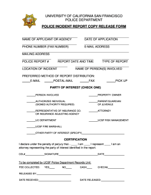 19 Printable fillable police report Forms and Templates
