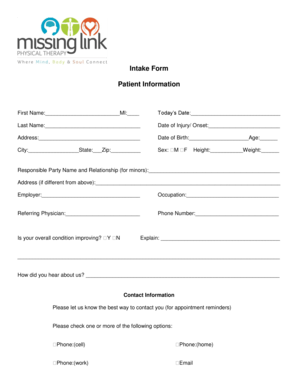 Fillable Online BIntake Formb Patient Information