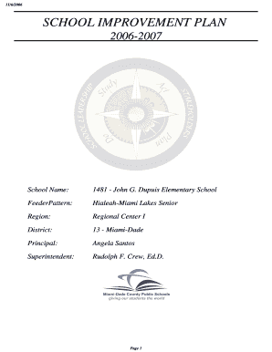 Fillable Online 11/6/2006 SCHOOL IMPROVEMENT PLAN 20062007