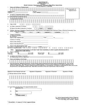 Printable apprentice contract of employment template