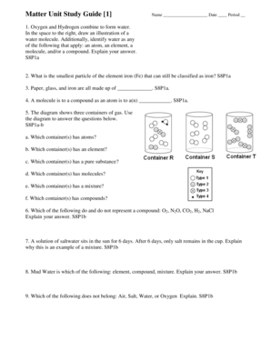 Fillable Online troup Matter Unit Study Guide 1 Name Date