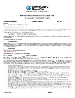 Fillable Online TRANSNET ASSET DISPOSAL PROGRAM SALE 106