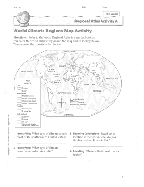 Fillable Online World Climate Regions Map Activity