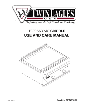 Fillable Online TEPPANYAKI GRIDDLE USE AND CARE MANUAL Fax
