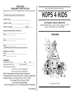 Fillable Online totowa k12 nj KOPS 4 KIDS ENROLLMENT FORM