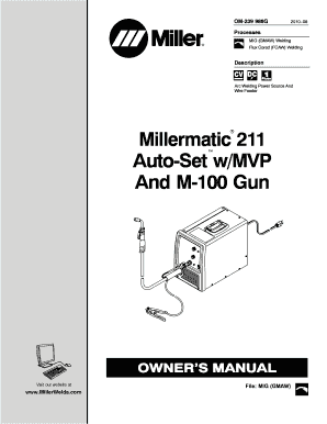 Fillable Online Millermatic 211 Auto-Set w/MVP And M-100