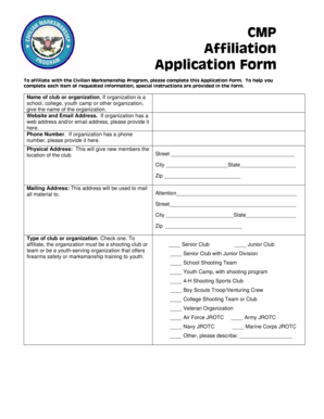 Fillable Online CMP Affiliation Application Form