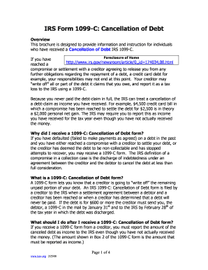 What Does Form C Omb Cancellation Of Debt