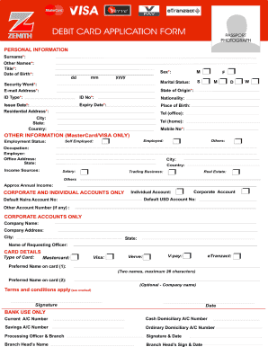 Zenith Bank Application Form Fill Online Printable Fillable Blank Pdffiller