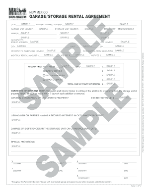 29 Printable Garage Storage Rental Agreement Forms and