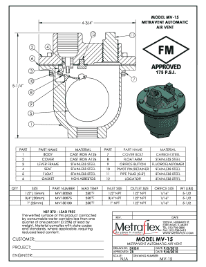 Fillable Online MODEL MV-15 4-34 METRAVENT AUTOMATIC AIR