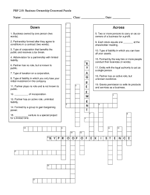Fillable Online PBF 201 Business Ownership Crossword