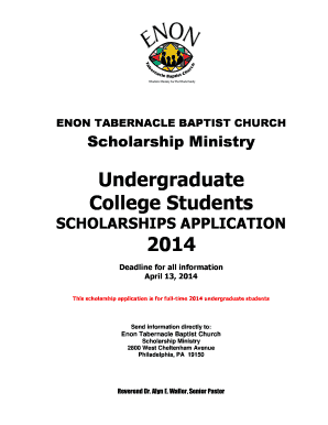 Fillable Online ENON TABERNACLE BAPTIST CHURCH Scholarship