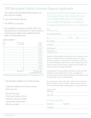 Fillable Online TEP Residential Lifeline Discount Program