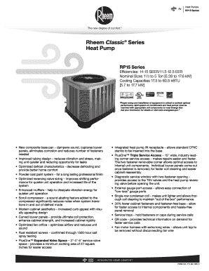 Fillable Online Rheem Classic Series Heat Pump