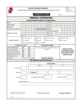Fillable Online Descon Technical Institute Fax Email Print