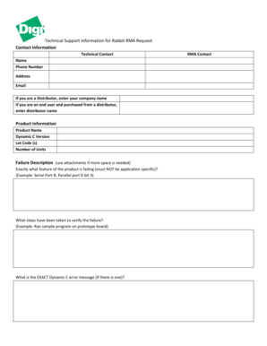 Fillable Online Rabbit Product RMA Request Form Fax Email