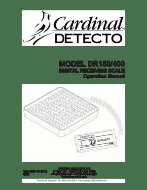 Fillable Online MODEL DR150/400 DIGITAL RECEIVING SCALE