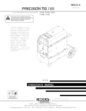 Fillable Online IM832.PDF. PRECISION TIG 185 Fax Email