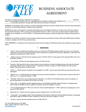 Business associate agreement template insert clinic name business associate agreement this privacy agreement (agreement), is effective upon signing this agreement and is entered into by and between insert clinic name (covered entity) and vendor (the business associate). 30 Printable Business Associate Agreement Forms And Templates Fillable Samples In Pdf Word To Download Pdffiller