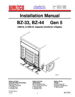 Fillable Online Installation Manual BZ-33 BZ-44 Gen 5 Fax