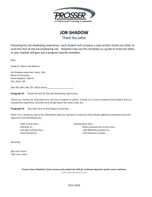 Job Shadow Thank You Letter - Fill Online, Printable, Fillable ...