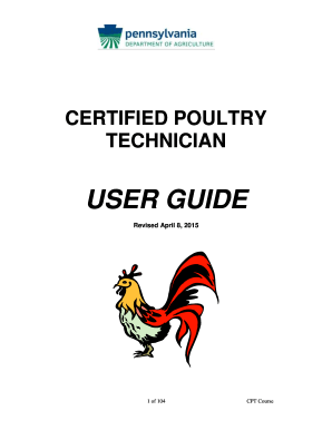 Fillable Online CERTIFIED POULTRY TECHNICIAN USER GUIDE