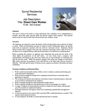 9 Printable job description format pdf Templates